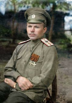 56 Incredible Colorized Photos That Revived 'Russia During WWI' ~ vintage everyday: Military pilot Ensign Vasily Vishnyakov, 1915 Imperial Army, Imperial Russia, World War One, First World, Russian Revolution, Colorized Photos, Red Army, Historical Clothing, Military Fashion
