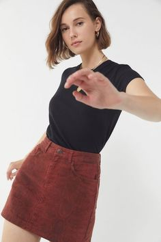 Shop UO Overdyed Snake Print Mini Skirt at Urban Outfitters today. We carry all the latest styles, colors and brands for you to choose from right here. Corduroy Shorts, Pretty Outfits, Pretty Clothes, Snake Print, Dress Outfits, Dresses, Dress Skirt, Urban Outfitters, Cool Style