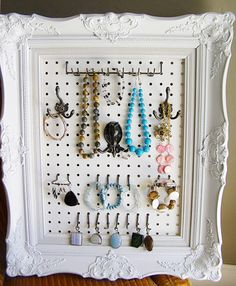 Show this picture to John and see if he can Frame a bigger that this Jewelry Pegboard for Rachel's closet