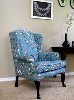 Modest Maven Vintage Blossom Wingback Chair Img Diy Armchair Upholstery Patchwork Tall Wing Custom Outdoor Cushions Target Tufted Danish Furniture Melbourne Kids Play Table With Chair Reupholstery, Furniture Upholstery, Upholstered Chairs, Wingback Chairs, Chair Cushions, Wing Chairs, Upholstery Repair, Rattan Chairs, Upholstery Tacks