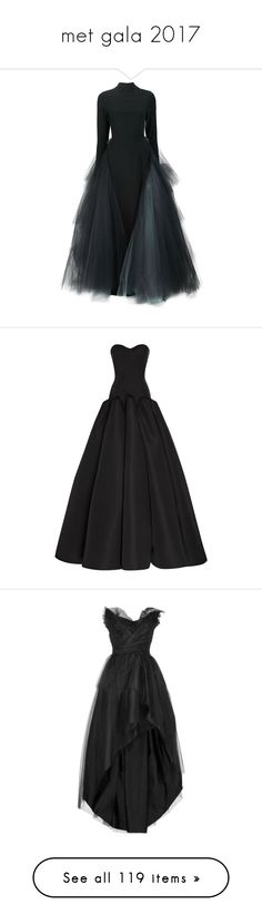 """""""met gala 2017"""" by silly-laura ❤ liked on Polyvore featuring MetGala, MetGala2017, metgala17, dresses, gowns, black, christian siriano, double layer dress, layered dress and silk dress"""