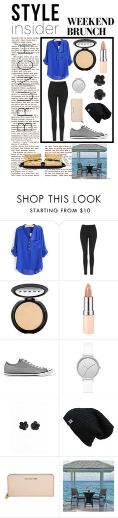 """""""Bruch Time"""" by happy-geek7 ❤ liked on Polyvore featuring Topshop, LORAC, Rimmel, Converse, Skagen, Michael Kors and fashionforlife"""