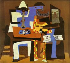 Three Musicians by Pablo Picasso-- http://totallyhistory.com/three-musicians/