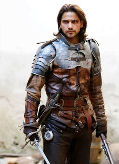 "Luke Pasqualino in ""The Musketeers"" Medieval Combat, Medieval Armor, Medieval Fantasy, Medieval Knight, Medieval Gown, Larp, Armadura Medieval, Armor Clothing, Medieval Clothing"