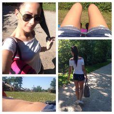 sunny #sunday ciao #weekend war schön mit dir komm wieder  wo sind die #abs hin  die ersten #hotdogs des Sommers #check  immer diese #paparazzi  #me #girl #chick #love #darkhair #dontcare #plait #ootd #white #chucks #denimshorts #hollister #red #bikini #sunglasses #rayban #bag #liebeskind by _aanjaanjaa_