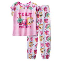 "Girls 4-12 Shopkins Ice Cream Kate, D'lish Donut & Fairy Crumbs ""Team Awesome"" Pajama Set, Girl's, Size: 10, Multicolor"