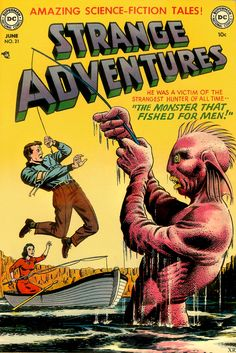 Amazing Science-fiction Tales - Dc - The Monster That Fished For Men - Boat - Fishing Rod Sci Fi Comics, Fantasy Comics, Old Comics, Horror Comics, Vintage Comics, Science Fiction, Pulp Fiction, Dc Comic Books, Comic Book Covers