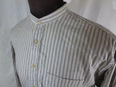 Banded Collar Shirt Nordstroms Mens XL Endura Blue White Stripe Western Style #Nordstroms #ButtonFront