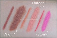 Swatches delle nuove Due Baci di Neve Cosmetics: Virgin, Material, Power Recensione qui: unfilodieyeliner.blogspot.com
