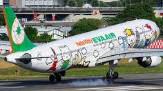 Eva Air (TW) Airbus A330-302 B-16333 aircraft,  painted in ''Hello Kitty Around The World'' special colours Dec. 2011, landing at Taiwan Taipei Songshan mid-size commercial & military airbase Airport. 28/12/2012.