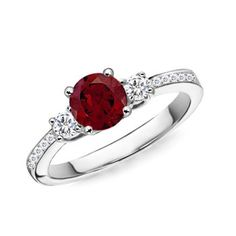 14kt white gold diamond engagement ring 0.50 ctw G-VS2 quality diamonds and a .50ct  blood red ruby on Etsy, $695.00