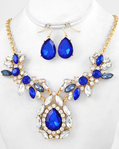 Gold Tone / Royal Blue & Clear Acrylic / Clear Rhinestone / Lead Compliant / Necklace & Fish Hook Earring Set