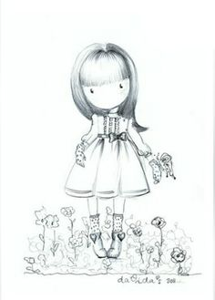 DaVida's dolls - Cute illustrations of little innocent girls Colouring Pages, Adult Coloring Pages, Coloring Books, Digital Stamps, Digital Prints, Little Doll, Copics, Cute Illustration, Filofax