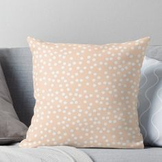 Super soft and durable spun polyester Throw pillow with double-sided print. Cover and filled options. A simple and elegant blush pink design, with some white polka dots! Pastel Yellow, Pink Design, Pink Polka Dots, Designer Throw Pillows, Pillow Design, Blush Pink, Peach, Yellow Decorations, Food Recipes