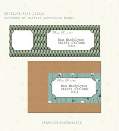 And more wraparound labels Mailing Labels, Address Labels, Printable Labels, Free Printables, Envelope Labels, Cut And Paste, Green Pattern, Mail Art, Print And Cut