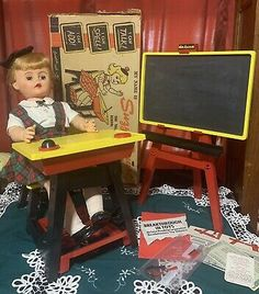 Suzy Smart Deluxe Reading Doll Desk Chalkboard Not Talking Original Clothes Box | eBay Dolls For Sale, Suzy, Drafting Desk, Chalkboard, The Originals, Reading, Box, Clothes, Outfits