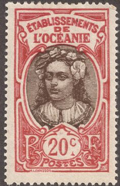 """1929 postage stamp """"Tahitian Youth"""""""