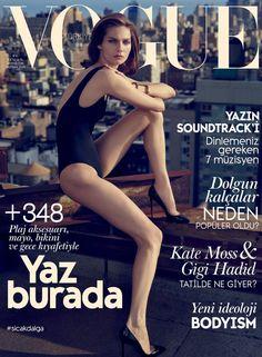 cool Karolin Wolter posa no topo de Manhattan para a capa da Vogue Turquia Junho 2015 [Capa]
