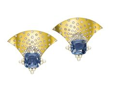 A PAIR OF SAPPHIRE, ORIENTAL PEARL AND DIAMOND EAR CLIPS, BY JAR  Each designed as a polished gold fan inlaid with single-cut diamonds, to the cushion-shaped sapphires weighing 22.01 and 16.35 carats and Oriental pearl trefoil details, made in 2001, 4.9 cm long, with French assay mark for gold Signed JAR Paris