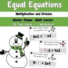 Winter Equal Equations using Multiplication and Division by Teacher's Take-Out