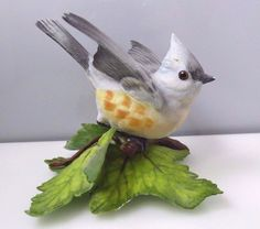 LENOX Porcelain Tufted Titmouse Garden Bird Figurine Collectible Handcrafted