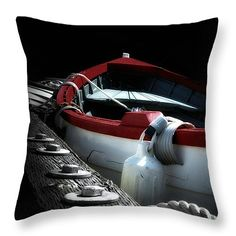 Gone Home Throw Pillow by Micki Findlay - TheSingingPhotographer.com - various sizes, home decor, cushion, boat, nautical, black, red, nanaimo, harbour, ocean