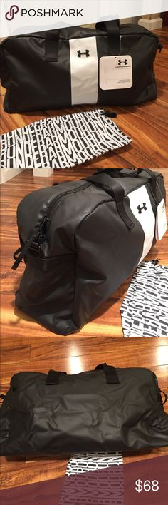 """Super Under Armour duffle, NWT. ⭐ New dufflebag by Under Armour.  Cute UA lining with side zip pocket, mesh pouch and sports bottle storage.  Nice and roomy at 24"""" x 12"""".  Come with drawstring bag for your gym gear or wet things. Under Armour Bags"""