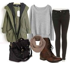 Cute Fall outfit.  Oversized rain coat, combat boots, scarf, cropped sweater, messenger bag and skinny jeans.