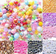 Free shipping1000 Mixed AB Size from 2-10mm Craft ABS Resin Flatback Half Round Pearl Flatback Scrapbook Beads Jewelry DIY $7.30