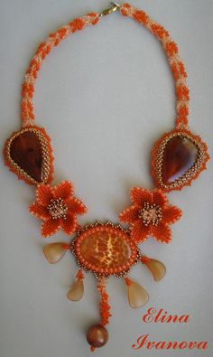Beaded flower autumn necklace like pumpkin, exclusive handmade bib necklace…