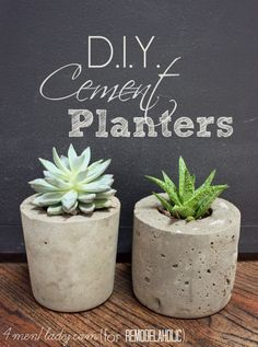 25 diy planters for indoors and outdoors via Remodelaholic.com including these diy cement planters