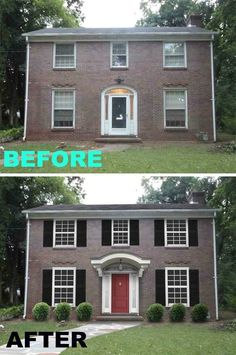Faux shutters turned this weird bank into a respectable home:                                                                                                                                                                                 More