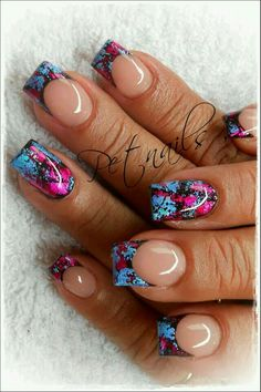 Pink, black, and blue nails. Fabulous Nails, Gorgeous Nails, Pretty Nails, Hot Nails, Hair And Nails, Acryl Nails, Manicure Y Pedicure, French Tip Nails, Super Nails
