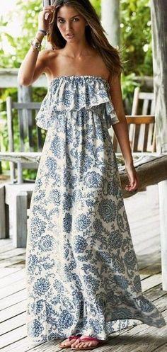 Porcelain Print Ruffled Maxi Dress