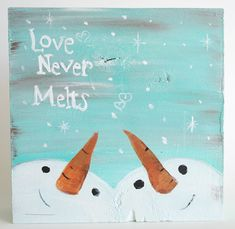 Winter Art - Painted Wood Christmas decor - Snowman Painting - Snow Couple Winter Wedding gift Snowman Art Block First Christmas together (Christmas Art Painting) Christmas Canvas, Christmas Paintings, Christmas Art, Christmas Projects, Winter Christmas, Snowman Crafts, Holiday Crafts, Snowman Wreath, Christmas Signs