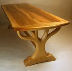 Fine Wood Table Designs Look around as you move throughout your day. From mailbox posts to pieces of furniture and art to full buildings, the power to use wood to create is Table Cafe, Slab Table, Wooden Dining Tables, Rustic Table, Handmade Wood Furniture, Log Furniture, Furniture Outlet, Wooden Sofa Set, Wooden Diy