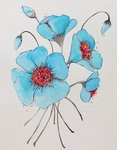 Blue Poppies watercolor painting original painting by Waterblooms