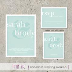 """modern wedding invitation - """"Ampersand"""". $96.00, via Etsy."""
