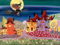 "Oil painting 30x40 "" THE WITCHES VILLAGE """