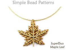 This DIY jewelry making tutorial will teach you how to make a beaded maple leaf pendant necklace using SuperDuo beads by Simple Bead Patterns. Old Jewelry, I Love Jewelry, Simple Jewelry, Beaded Jewelry, Fine Jewelry, Handmade Jewelry, Beaded Necklace, Jewelry Design, Pendant Necklace