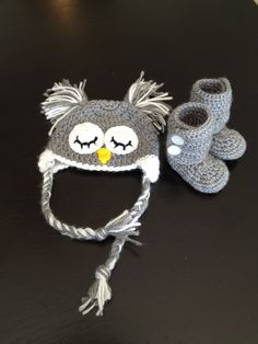 Infant Owl Hat and Booties by AllThingsAdorable15 on Etsy, $25.00