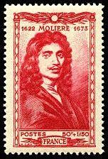 República Francesa. Año: 1944. Serie: Autores. Personaje: Molière (1622 - 1673)