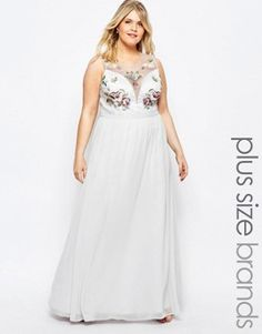 Chi Chi London Plus Floral Bust Maxi Dress With Thigh Split