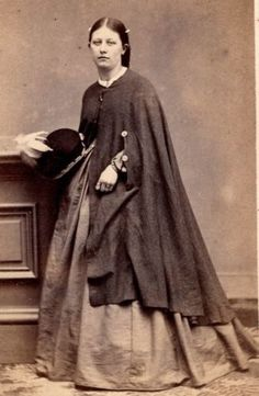 1860s-Beautiful-Woman-Hoop-Dress-Cape-Hat-by-Smith-Cooperstown-NY