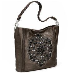 Brighton Anju Beaded Soft Bucket Bag - Pewter - One Size Brighton Handbags, Beaded Purses, Bucket Bag, Shoulder Bag, Shoe Bag, Accessories, Polyvore, Fall 2016, Women