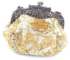 Gold Beaded Victorian Evening Purse Clutch Handbag