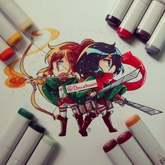 Sasha and Mikasa drawn by Ibu-chuan at Instagram. I think she use copic markers to colour it...