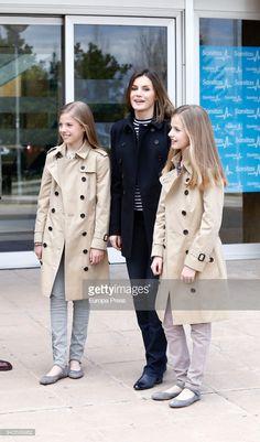 MADRID, SPAIN - APRIL 08: Queen Letizia of Spain, Princess Leonor (R) and Princess Sofia visit King Juan Carlos at La Moraleja Hospitalon April 8, 2018 in Madrid, Spain. (Photo by Europa Press/Europa Press via Getty Images)