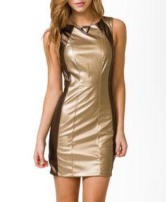 Metallic Faux Leather Bodycon Dress | FOREVER21 - 2030187273