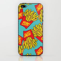Would You Like Fries With That? Teal iPhone  iPod Skin by Season of Victory - $15.00 french fries chips junk food snack